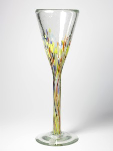 An elegant, fluted champagne-style glass