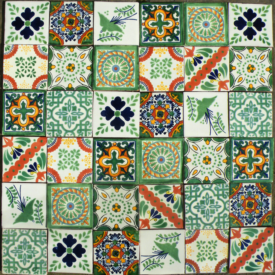 A patchwork of predominately green tiles