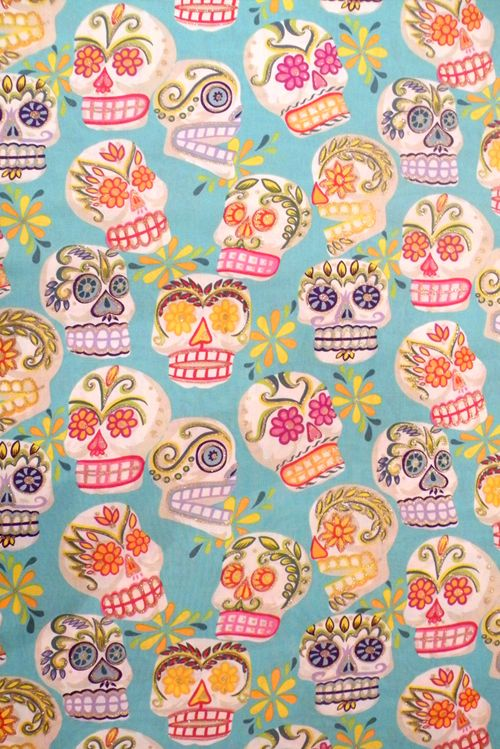 Blue Sugar Skull fabric