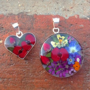 Real flower pendants, set in resin with silver