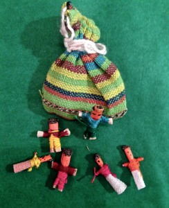 Six Guatemalan Worry Dolls in each bag