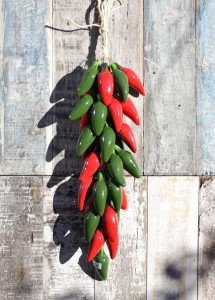Large, red and green, ceramic Chile Jalapeños