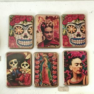 Frida Retablos on display in the Caoba shop in Stockbridge, Edinburgh